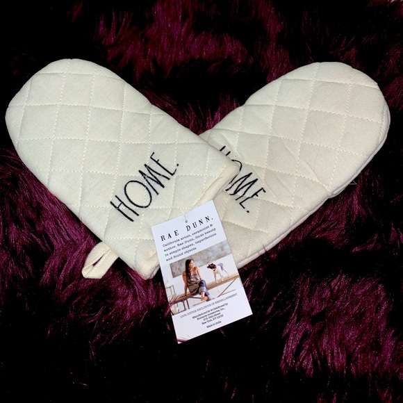 """Rae Dunn beige """"home"""" oven mitts set of 2 NWT"""